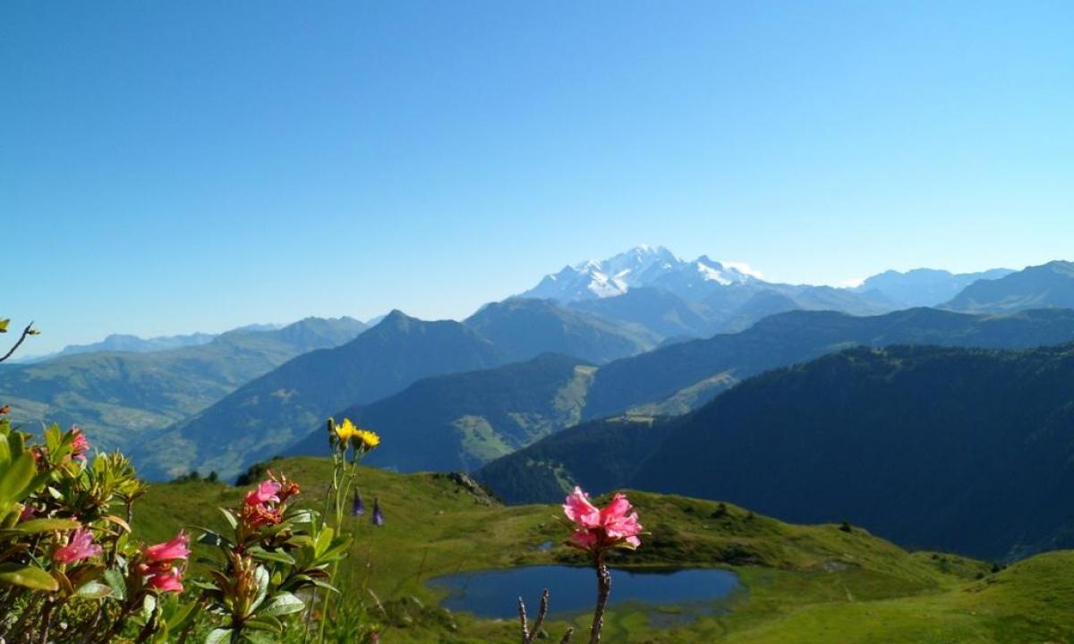 Vue sur le lac Brassa et le Mont Blanc