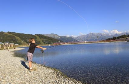 Pêche à la mouche au plan d'eau