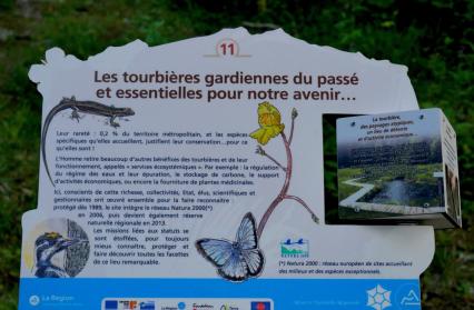 Panneau d'information sur l'écosystème des Tourbières
