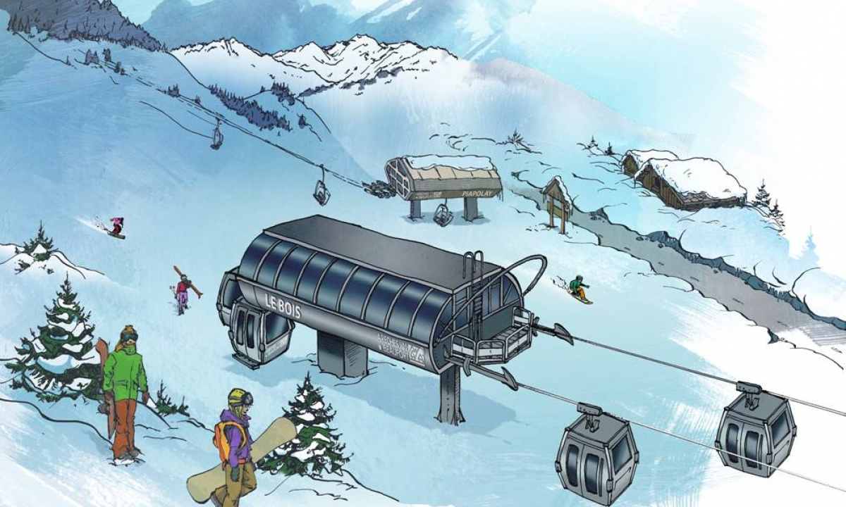 illustration telecabine areches-beaufort