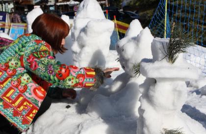 sculpture sur neige aux Saisies