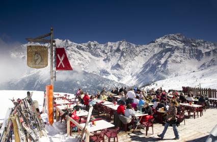 La terrasse du restaurant l'hiver